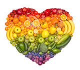 Rainbow heart of fruits and vegetables mouse pad