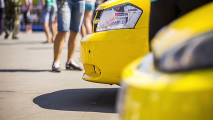 Yellow Cars At Exhibition