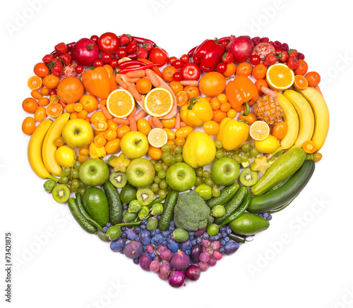 Canvas Vruchten Rainbow heart of fruits and vegetables