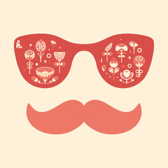 Hipster vintage sunglasses with flowers on red background.