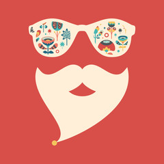 Hipster vintage sunglasses with colorful Christmas flowers.