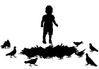 child and birds