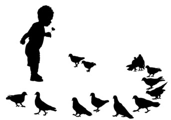 child and birds