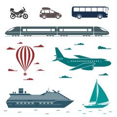 Transportation icons. Vector set of different means of transport