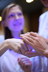 Close up of medical team hands, teamwork concept