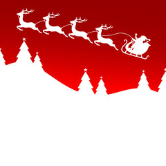 Flying Christmas Sleigh Red Forest