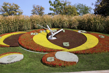 Flower Clock in the public park, geneva, Switzerland