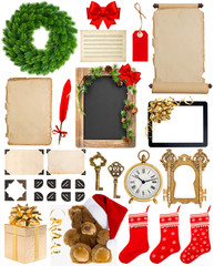 christmas decorations, ornaments and gifts. paper and frames iso