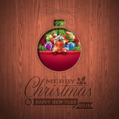 Engraved Merry Christmas typographic design