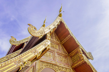Buddhist Temple Art with Naga Structure on Gable