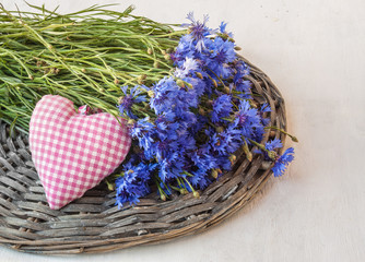 Bouquet of cornflowers and heart