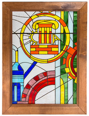 Photo of stained glass in wooden frame
