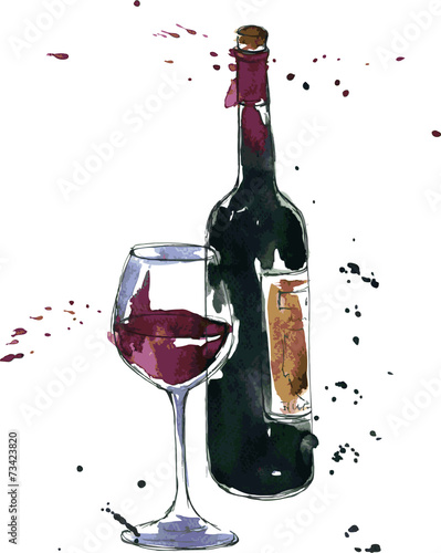 wine bottle and glass - 73423820