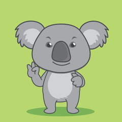 Smiling cute cartoon koala