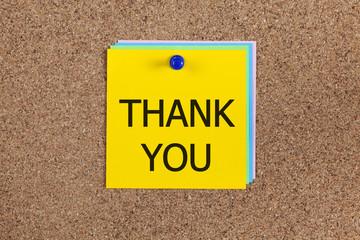 Thank you on corkboard