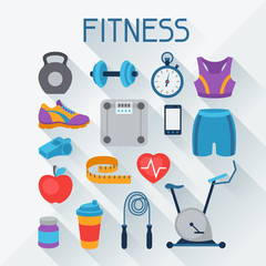 Sports and fitness icons set in flat style.