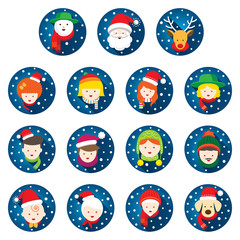 Flat Icons Set : Christmas, Family, People