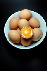 Eggs in plate with broken egg above