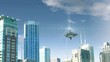 Animation with fake alien spaceship flying around Chicago