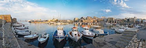 panorama of the port in Heraklion, Crete, Greece