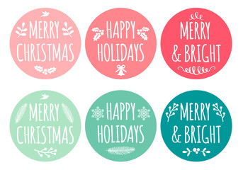 Christmas tags, vector set