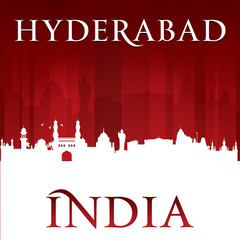 Hyderabad India city skyline silhouette red background