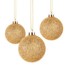 Golden Christmas balls with ribbon