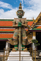Green Giant Guardian in Wat Phra Kaew temple ,bangkok,thailand