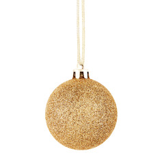 Golden Christmas ball with ribbon