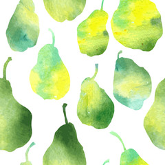 vector seamless pattern with pears