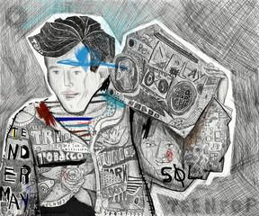 Мальчик с магнитофоном