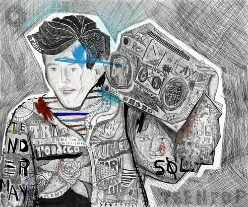 Мальчик с магнитофоном - 73425610