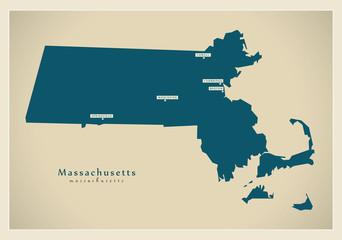 Modern Map - Massachusetts USA