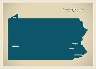 Modern Map - Pennsylvania USA