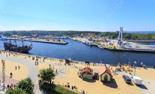baltic coast, marina and promenade in Ustka, Poland