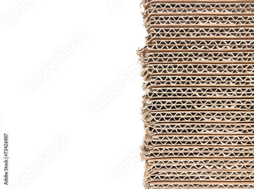 Stack of brown corrugated cardboard boxes with copy space - 73426487