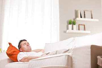 relaxed man having finally his time off