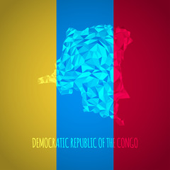 Low Poly Democratic Republic of The Congo with National Colors