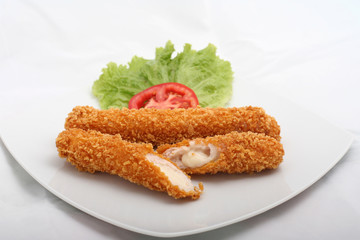 Delicious fried cheese sticks