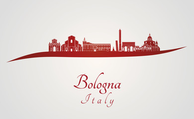 Bologna skyline in red
