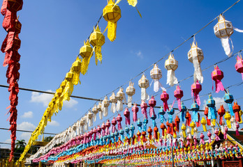 Colorful Hanging Paper Lantern in Festival of Thailand