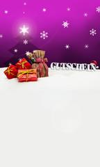 Christmas voucher Gutschein gifts snow pink