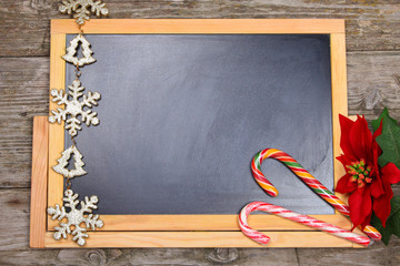 Christmas decorations on the chalkboard.