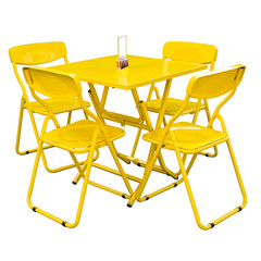 yellow metal cafe table and chairs outdoors on white.