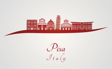 Pisa skyline in red