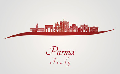 Parma skyline in red
