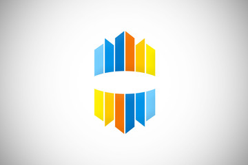 abstract modern building city colorful logo