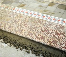 Pavimento de baldosas hidráulicas, decoración retro