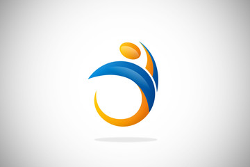 active people fitness abstract design logo
