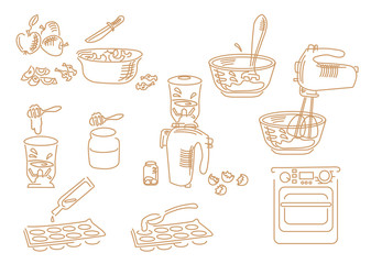 Set icons hand drawn kitchen